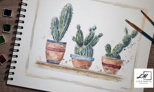 Aquarelle cactus lydia martin