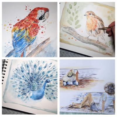 Cours dessin,aquarelle,peinture,carnet de voyage en sologne 1