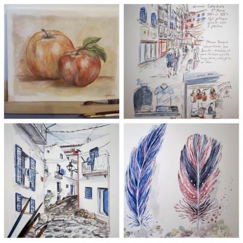 Cours dessin,aquarelle,peinture,carnet de voyage en sologne 2