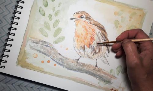 Aquarelle rouge gorge Lydia Martin cours de dessin et aquarelle