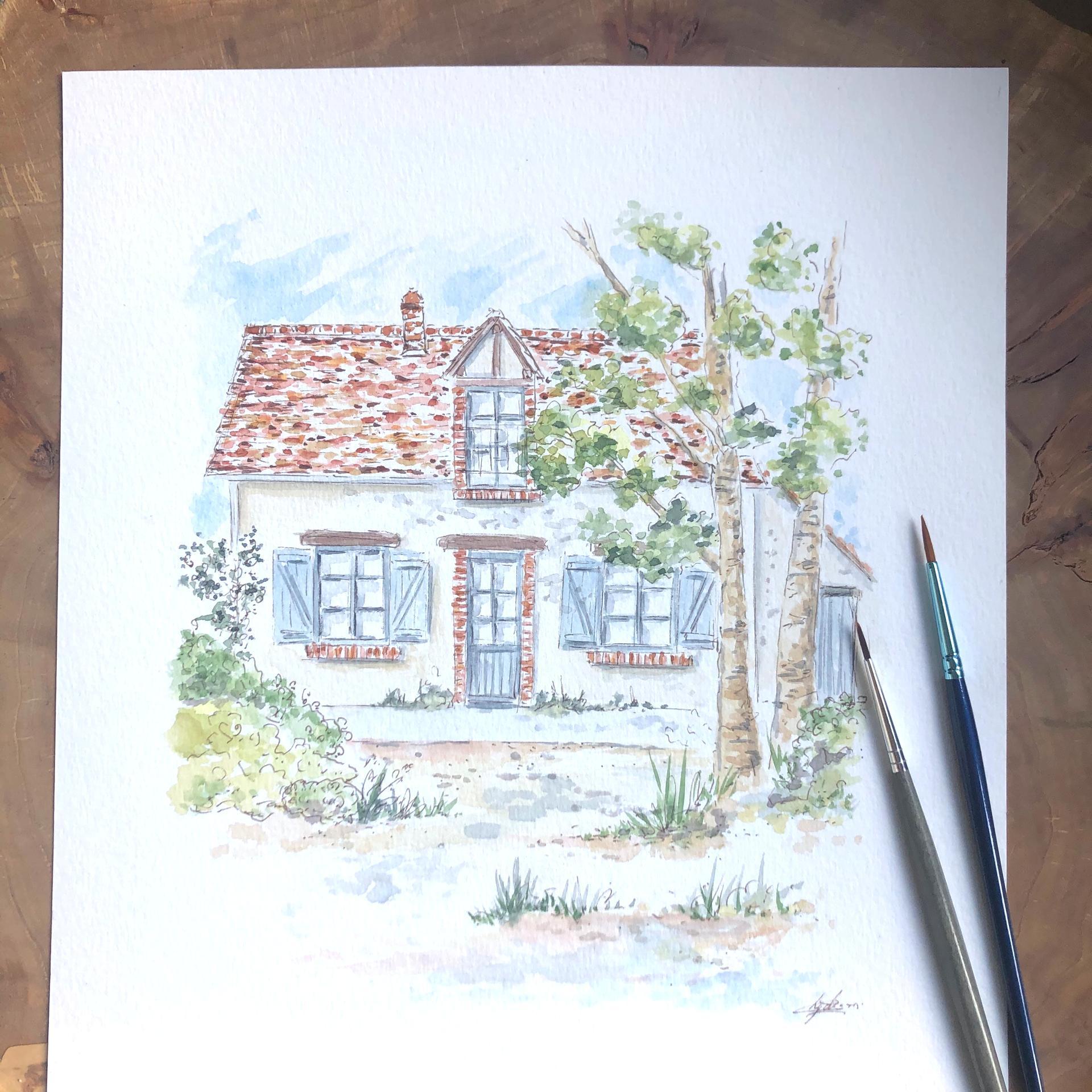Portrait de maison avec modification jardin