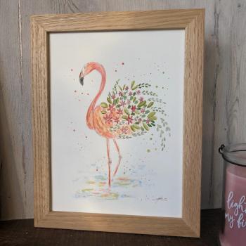 Peinture flamant rose fleuri