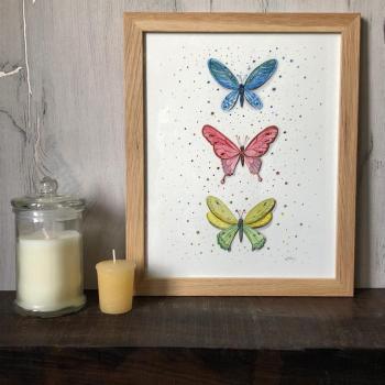 Peinture papillons colorés