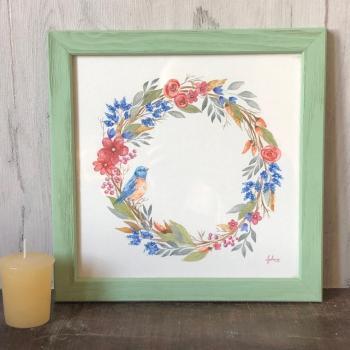 peinture couronne fleurs et oiseau