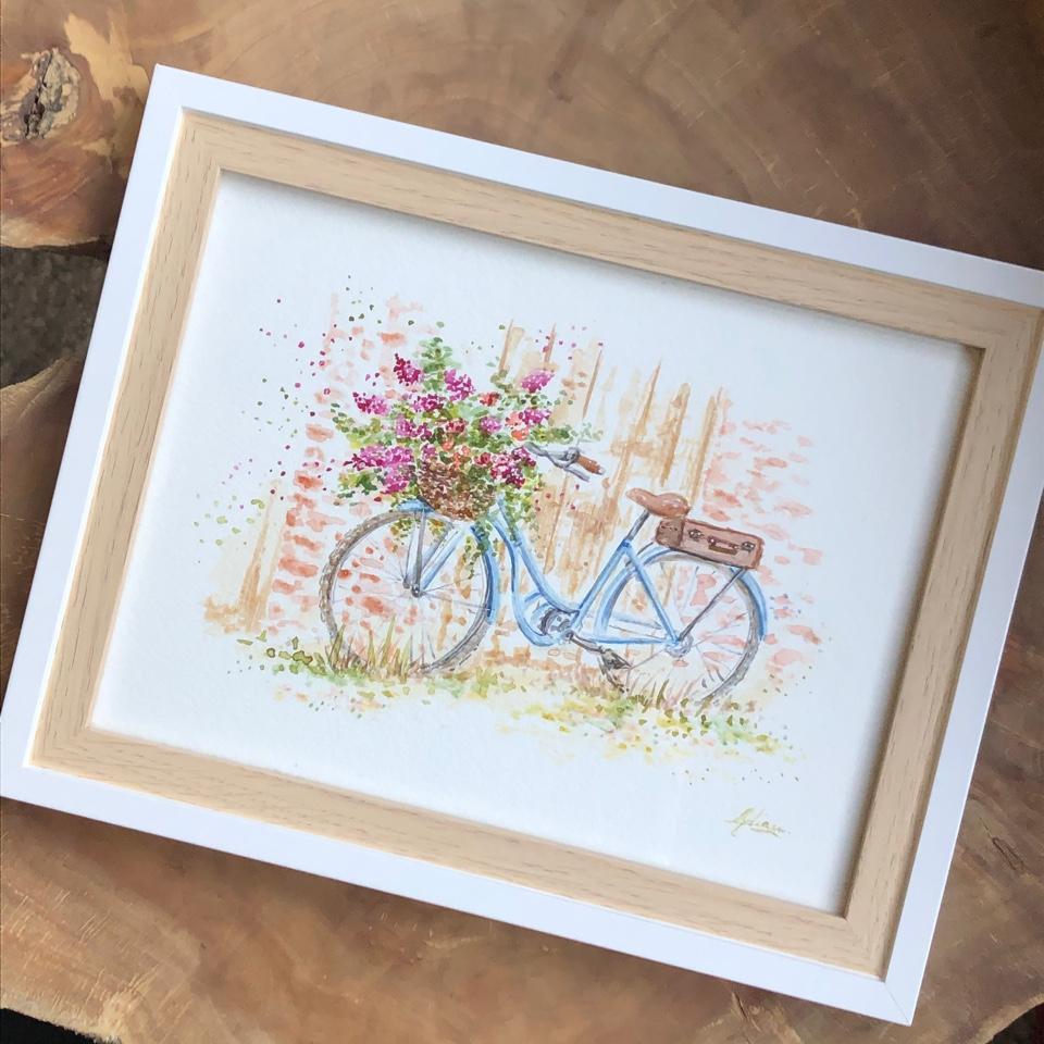 Peinture vélo fleuri sur-mesure