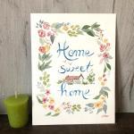 cadeau personnalisé aquarelle maison fleuri