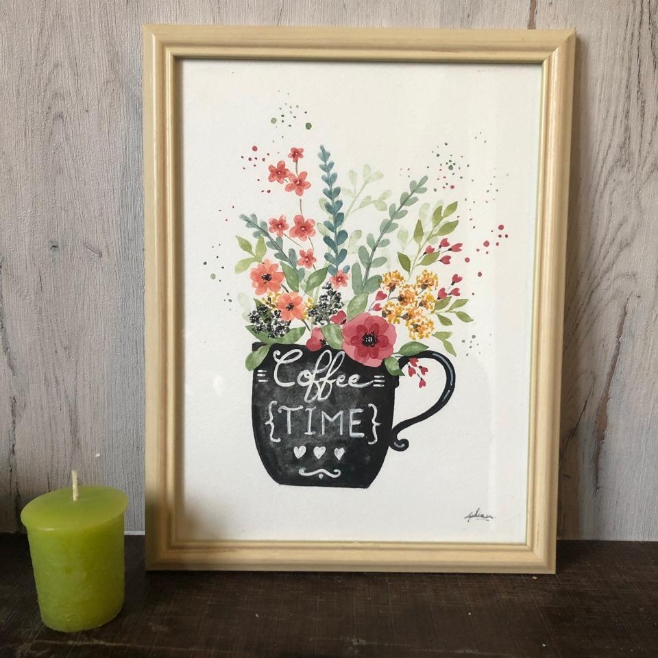 Cadeau décoration cuisine tasse fleurie