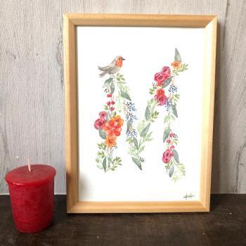 Lettre fleuri à l'aquarelle