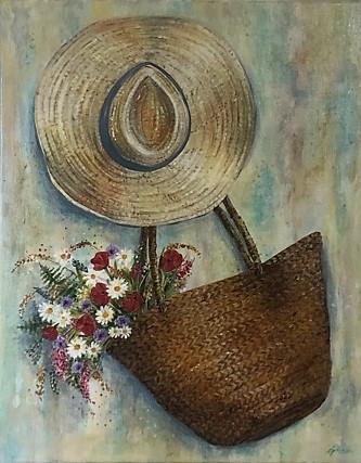 Panier, fleurs et chapeau