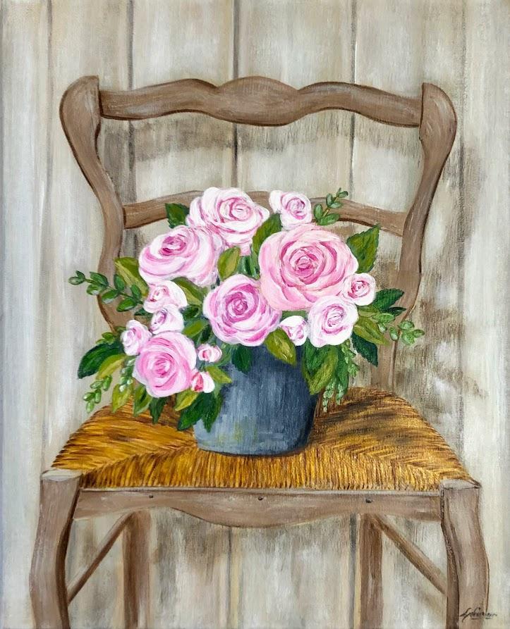 Roses sur une chaise
