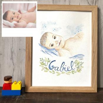 portrait de bébé peint