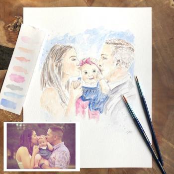 portrait de famille peint