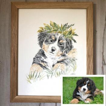 portrait chien peint