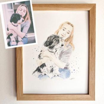 peinture chien avec son maître