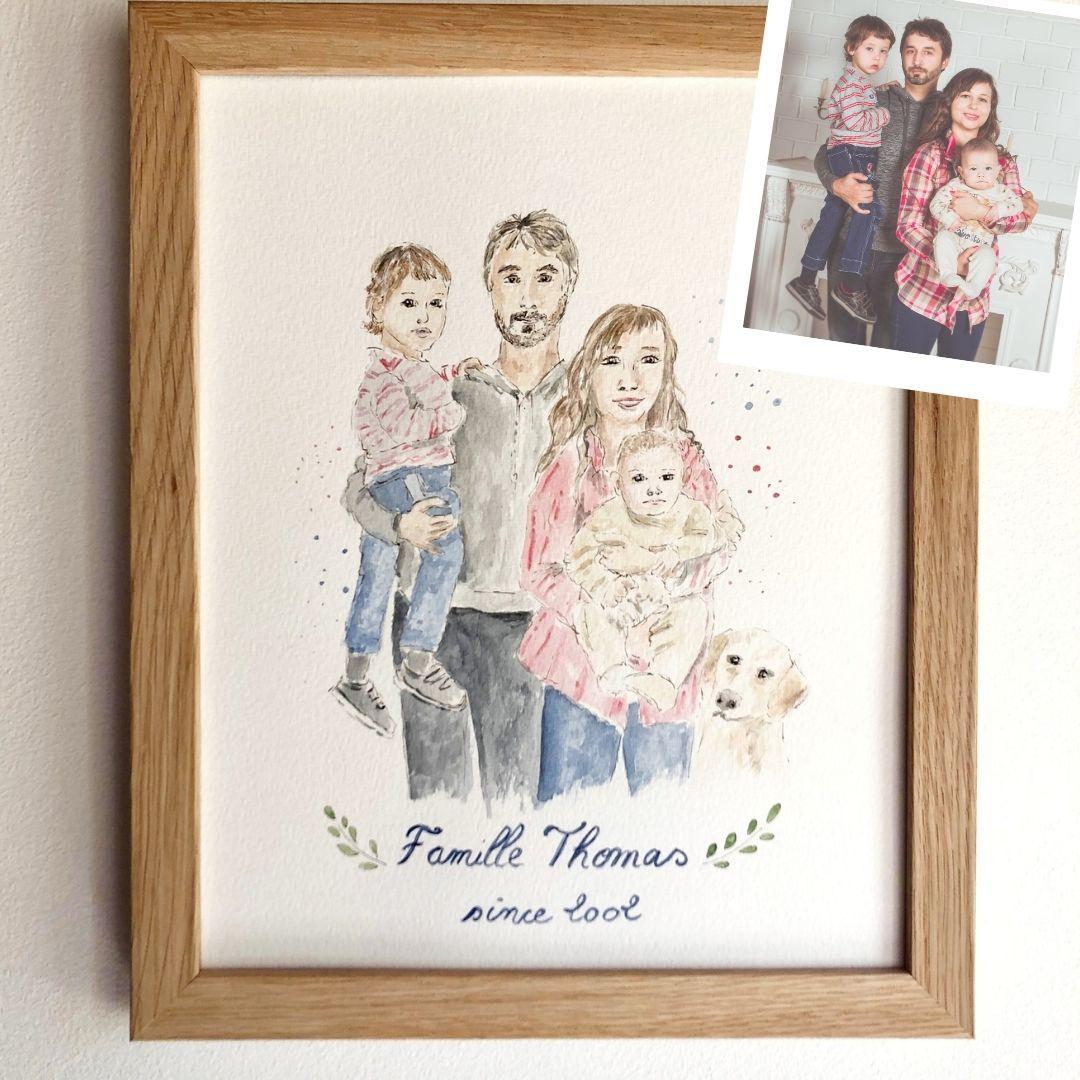 Portrait de famille et chien avec nom et date