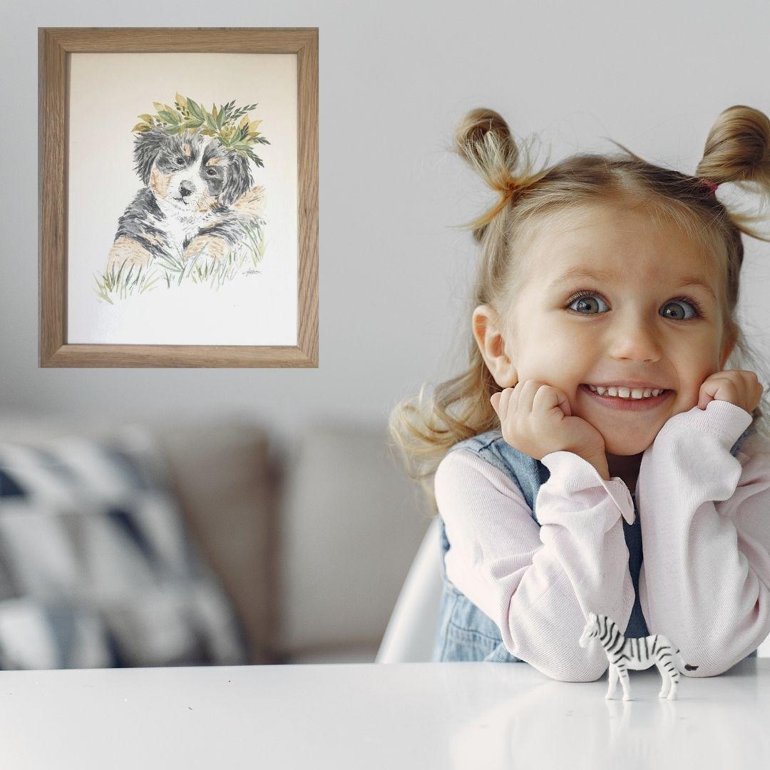 Portrait personnalisé couronne de feuilles