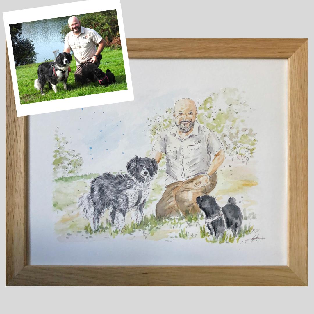 Portrait homme et ses chiens adorables